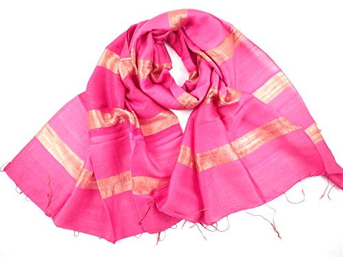 NEW - COOL TRADE WINDS - LADIES WIDE SILK BLEND SCARF SHAWL: Hand Loomed in Thailand, a twist on a classic silk scarf - Size 178 x 56cm (Pink)