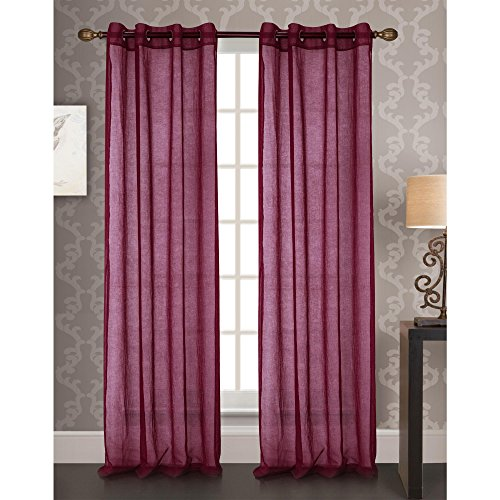 RT Designers Collection Fino Sheer 54 x 90 in. Grommet Curtain Panel in Berry (Berry Curtains)