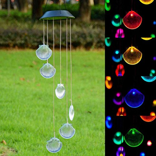 CHoppyWAVE Solar Powered LED Wind Chime Hanging Light Color Changing Shell Style for Garden Yard Lamp - Multicolor from CHoppyWAVE
