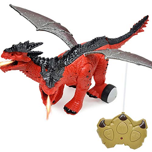 (XNYY Electric Remote Control Toys Two-Headed Spitfire Dragon Simulation Animal Model Jurassic Dinosaur Children Toys Entertainment (Color : Black))