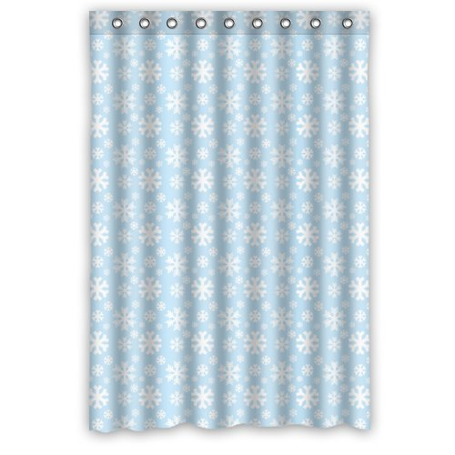 Amazon.com: Simple White Snowflakes In Light Blue Shower Curtain,100 ...