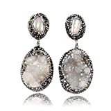 JAB Silver Natural Pearl and Oval Agate Titanium AB Druzy with Black Gun Zircon Dangle Stud Earrings
