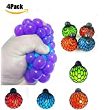 Pack of 4 Stress Fidget Relief Squeeze Grape Vent Ball Toy Soft Rubber Hand Toy Random Color