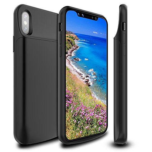 iPhone X Battery Case 6000mAh,Newdery Slim Rechargeable Portable Extended Charger Case, Protective Backup Charging Case Magnetic Mental iPhone 10 - Support Lightning Headphones(Black) by NEWDERY (Image #7)