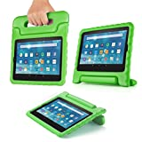 TNP Shock Proof Case for All New Fire 7 Tablet (7th Gen, 2017 Release) - For Kid Friendly Child Proof Anti Slip Impact Drop Light Weight Convertible Handle Stand Cover Protective Case (Green)