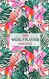 2019 Weekly Planner: Fantastic Floral Flamingo Hawaiian Shirt Print Calendar Brings the Isl