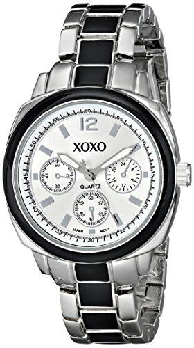 XOXO Women's XO112 Silver Dial Silver-tone and Black Enamel Bracelet Watch (Dial Black Enamel)
