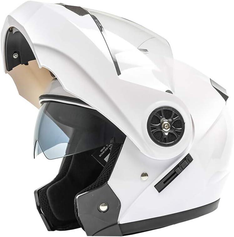 GWM 電動バイクヘルメット、男性のバッテリー車女性の冬のダブルレンズオープンフェイスヘルメット、4シーズンユニバーサルフルカバー防雨日焼け止め防止霧暖かい機関車フルフェイスヘルメット、性格ヘルメットハーフヘルメット二重目的 (色 : 白) 白