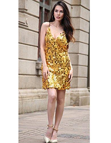 Vestido Mujer IHRKleid® Partido Lentejuelas Vestido Bola Partido Corto Roca Oro