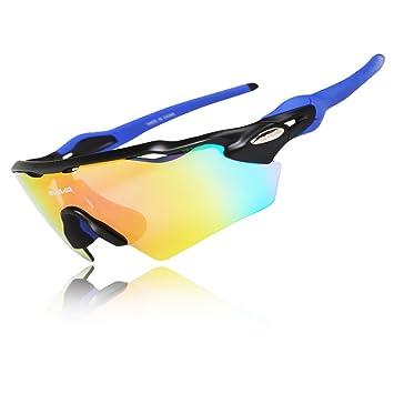 7f6af93de4 West Biking - Gafas de ciclismo, con 5 lentes intercambiables polarizadas,  protección UV, resistentes al viento, unisex, Niños mujer hombre, ...