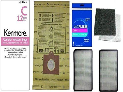 12 Kenmore Type C or Type Q Premium Allergen Canister Vacuum Bags, (2) Kenmore CF1 81002 Motor Chamber Filter, (2) Kenmore EF1 86889 HEPA Exhaust Filters, Fits Progressive, Intuition, Canisters (Kenmore Q Hepa Bags compare prices)