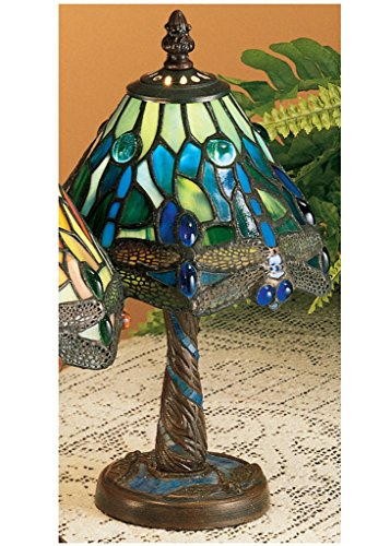 12 Inch H Tiffany Hanginghead Dragonfly W/ Twisted Fly Mosaic Base Mini Lamp , Table Lamps , Meyda