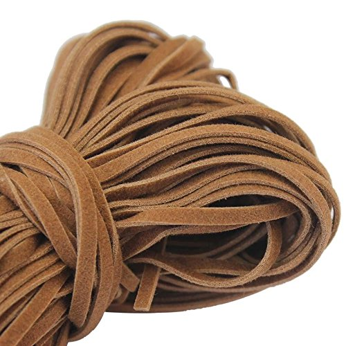 5 meter (15ft) Natural Light Brown Faux Leather Suede Flat Lace Cord Spool- Vegan Friendly (Tan- 4mm) 4mm Brown Leather Cord Necklace