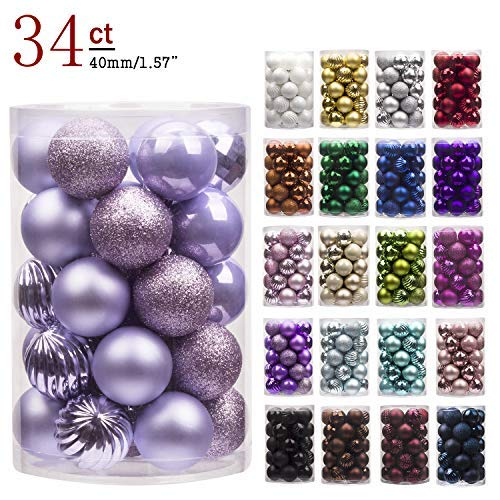 """KI Store 34ct Christmas Ball Ornaments Shatterproof Christmas Decorations Tree Balls Small for Holiday Wedding Party Decoration, Tree Ornaments Hooks Included 1.57"""" (40mm Lavender Purple) ()"""