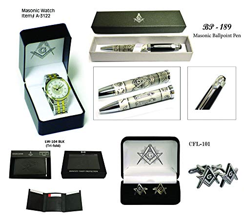 (Father's Day Gift (Set) Masonic Wrist Watch + Masonic Ball Pen + Genuine Leather Wallet +Cufflink)