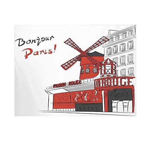 Paris Photography Background,Sketch Art of Urban Landscape with Cabaret Moulin Rouge in Paris Modern City Decorative Backdrop for - Cabaret Bath