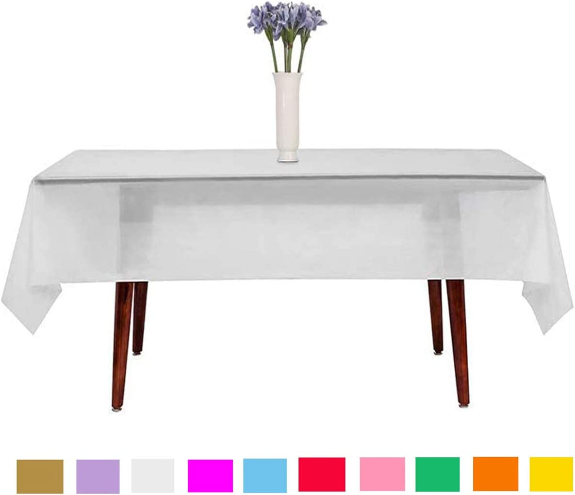 Senteen Manteles Desechables 10 Pcs Rectangular Impermeabl Mantel Mesa Table Cloth Plastic, para Mesas en Fiestas De Interior y Exterior Jardín Cumpleaños Bodas Navidad