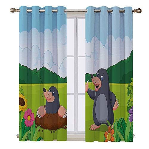 SATVSHOP Hugo Short valances Curtain Windows Treatment for Kitchen Living Room - 55W x 45L Inch-Kids Cute MOL in The Garden Digging The Flower Field Animal Baby Cartoon