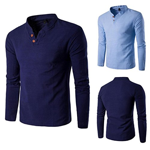 Mens Shirt,Haoricu Hot Sale! S~ 4XL Men's Linen Long Sleeve T shirt Plus Size Pullover Teens Tops Blouse