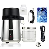 water purifiers for home YaeCCC 1Gal 4L Purifier Pure Water Distiller Distiller, All Stainless Steel Internal, Medical Home s Steel Internal, Medical Home Glass Jar (Black)