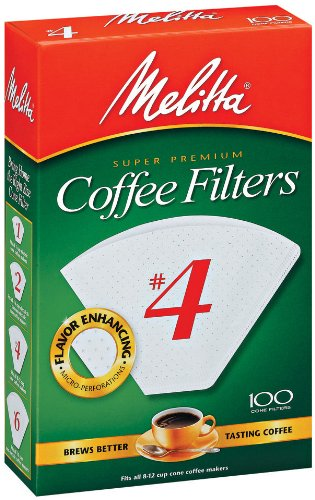Melitta #4 Super Premium Cone Coffee Filters, White, 100 Count