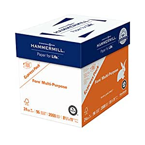 Hammermill Paper, Fore Multipurpose Paper, 8.5 x 11 Paper, Letter Size, 24lb Paper, 96 Bright, Express Pack / 2,000 Sheets NO REAM WRAP (163122C) Acid Free Paper