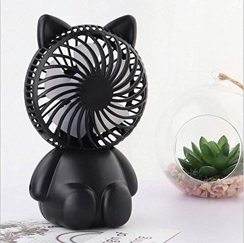 Summer USB Small Fan,Mini Handheld Portable Small Electric Fan,Rechargeable Student Dormitory Bed Silent Cigar Cat Fan, WOZUIMEI, Black ()