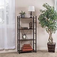Leora 4-Shelf Industrial Dark Walnut Wood Bookshelf