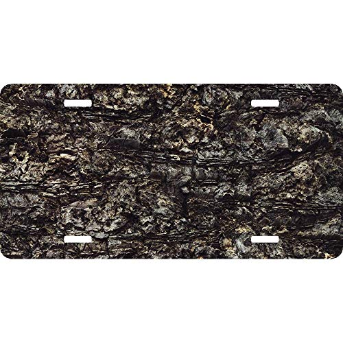 Bark Trunk Texture Tree Personalized Front License Plate Novelty Vanity Gift Aluminum Car Tag Sign 4 Holes 12 x 6 Inch
