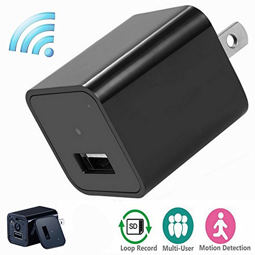 Wifi Mini Camera Charger Adapter,ESROVER HD 1080P P2P Wifi Nanny Camera Adapter for IOS iPhone Android Phone APP Remote View