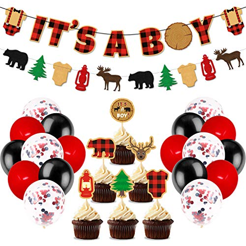 Lumberjack Baby Shower Party Decorations, It's A Boy Banner Buffalo Plaid Cupcake Toppers Black Red Latex Balloons For Woodland Hunting Rustic Christmas Camping Themed Baby Shower Gender Reveal Party Supplies