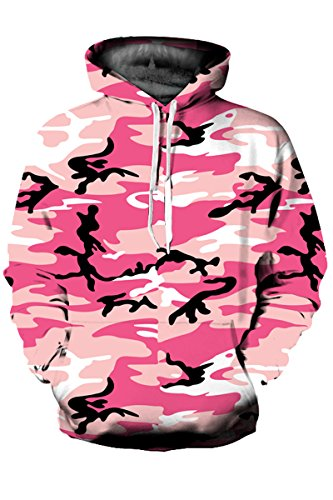 Edwards Drawstring Sweatshirt - Mulisky Unisex Print Big Pockets Drawstring Hoodie Sweatshirt Pink Camouflage M