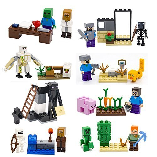 ON SALE 16 Custom Steve Alex Iron Golem Creeper Ocelot minifigures & building blocks with manual, no boxes are included, plus 5 Lego Minecraft building blocks
