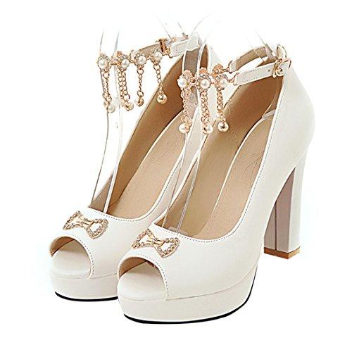 D'Ete Femmes Talons Bride Elegantes avec Papillon Bloc pour Noeud UH Blanc Strass Sandales Haut à et Cheville wHwZq