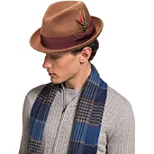 Janetshats Fedora Hat For Men Wool Felt Hat Stain-Resistant Crushable Trilby Handmade Stitching Bowknot Feather 57 cm Size