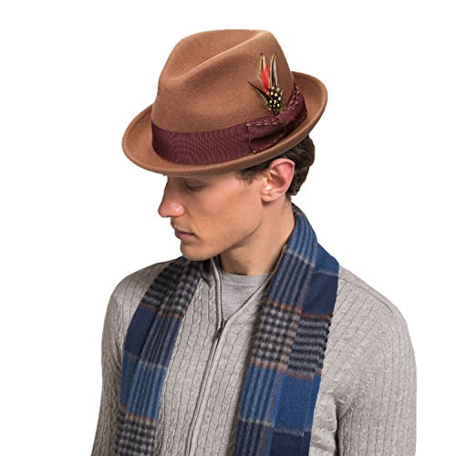 Wool Felt Hat Camel - Janetshats Fedora Wool Felt Hat Camel Stain-Resistant Crushable Trilby All By Handmade With Stitching Bowknot Feather Trim Of Winter Hat Unisex Style Trilby For Valentine's Day