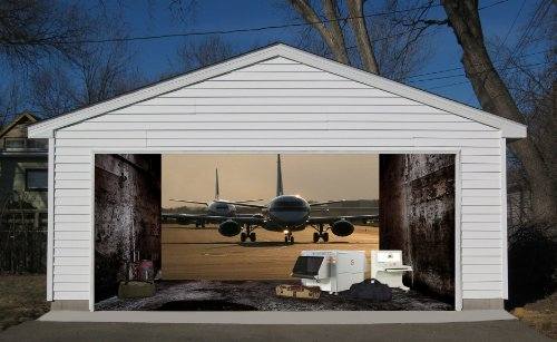3D Effect Garage Door Billboard Sticker Cover Decor Plane in the Airport 7x8 Feet by VSGraphics LLC