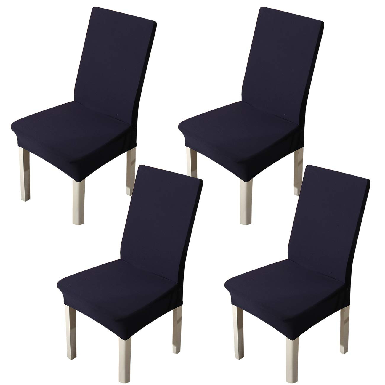 Ogrmar 4PCS Stretch Removable Washable Dining Room Chair Protector Slipcovers/Home Decor Dining Room Seat Cover (Navy Blue)