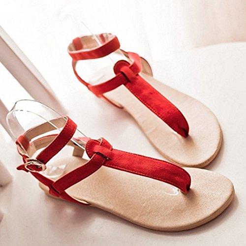 Back Rouge TAOFFEN Chaussures Mode Cheville Plat Sangle Open De Sandales Clip Femmes strap 772 T Toe wOZrFOXyxq