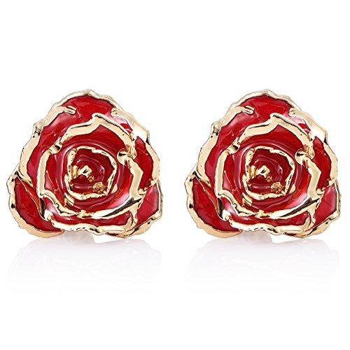 ZJchao Women Flower Stud Earrings Dipped 24K Gold Earring Pins Birthday Gift for Her (red)]()