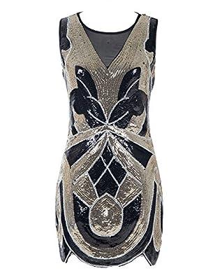 Emust Women's 1920s Vintage Paisley Art Deco Sequined Flapper Gatsby Dress