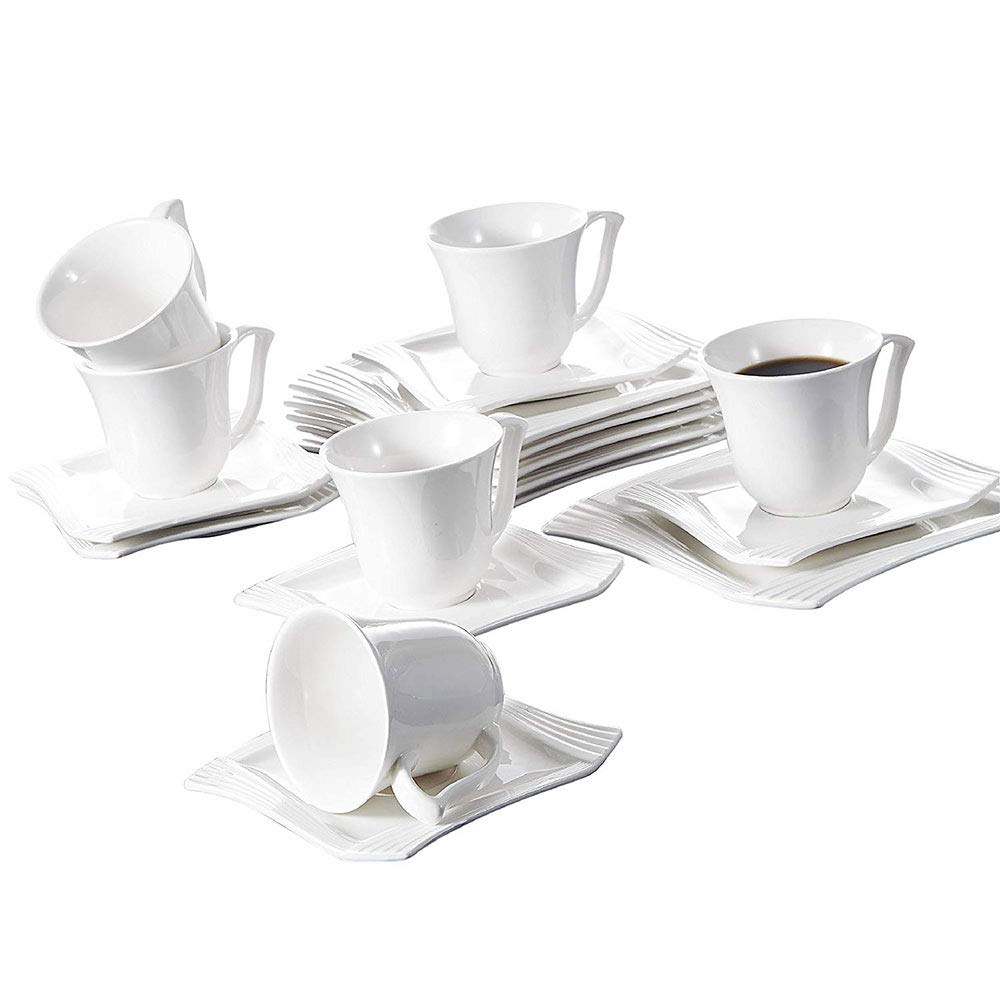 Malacasa 18 Pieces Porcelain Dessert Plates Cups with Saucers, 8 Inch Snack Plate Cappuccino 7 Ounce Cups with 6 Inch Saucer Coffee Drinks, Cafe Mocha and Tea - Set of 6, White - Amparo