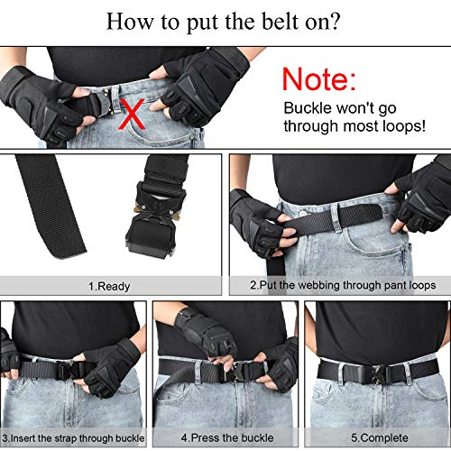Tactical Belt Military Style Nylon Riggers Belts for Men Quick-Release Heavy Duty Metal Buckle by WHIPPY Black Small