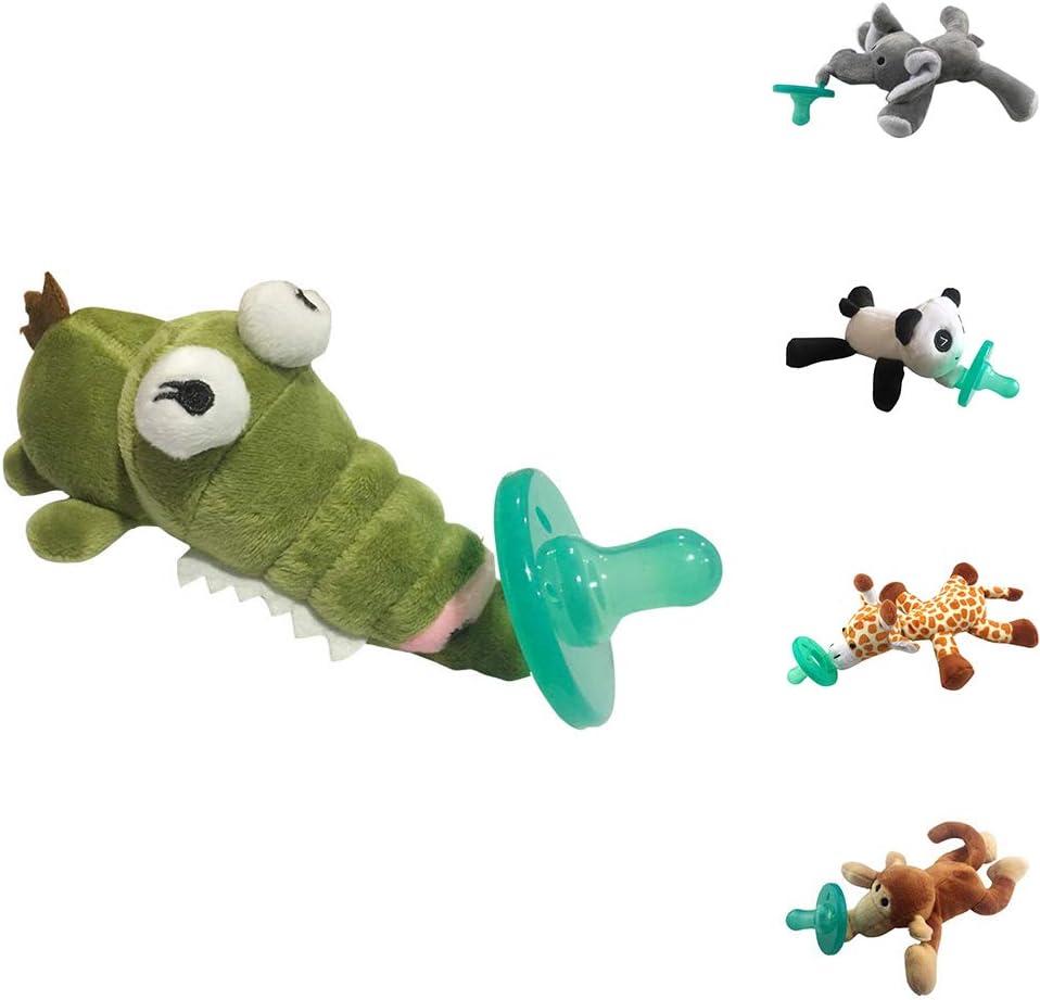 0Miaxudh Schnuller sch/öne Baby nippel s/äuglingssilikon Schnuller mit Cartoon Tier pl/üsch Puppe Spielzeug Crocodile*