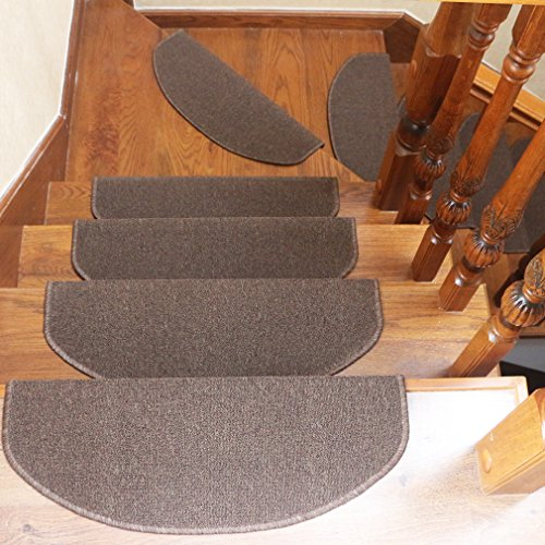 Qingbei Rina Carpet Stair Tread Mats,Non-Slip Indoor Stair Protectors,Set of 14 Modern Step Mats for Hard Floor Staircase (Brown).