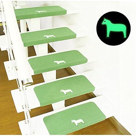 GUSJ: 7 almohadillas para escalera, alfombrilla para escalera, alfombra para suelo, protector de alfombra, interior luminoso, autoadhesivo, antideslizante, evita la humedad, resistente al silencio, fácil de limpiar (55 cm x 22 cm):