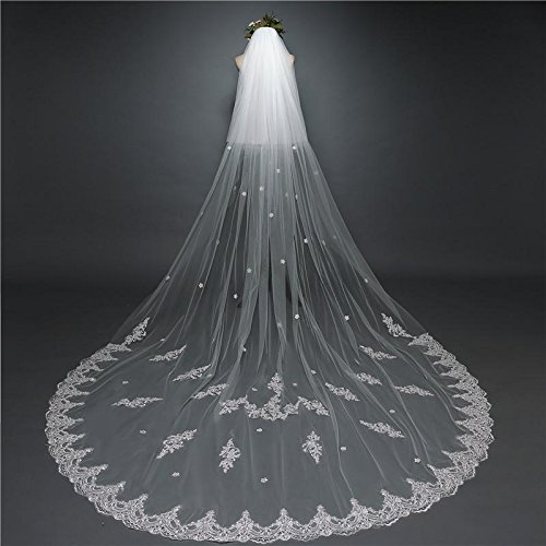 Lydia Wedding veil long lace bridal veil 3 m handmade decals long tail mural veil + comb , ivory , 3m