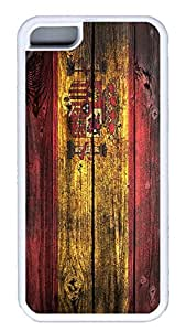 iPhone 5C Case,Wood stripe Series Customize Ultra Slim Wood Spanish Soft Rubber TPU White Case Bumper Cover for iPhone 5C