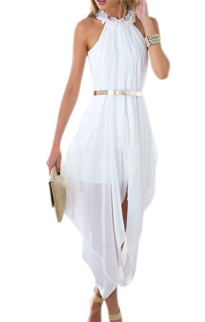 Unbranded* Women's Sheer Chiffon Folds Hi Low Loose Dress Delicate Gold Belt (X-Large, White)