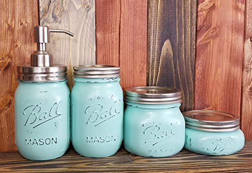 Custom 4, 5 or 6 Piece Painted Mason Jar Bathroom Set with Soap Dispenser Lid – Bathroom Accessories – Rustic Farmhouse Decor – Country Chic Decor – Available in 20 Colors – Shown in Sea Blue (Looks Latex 5 New)